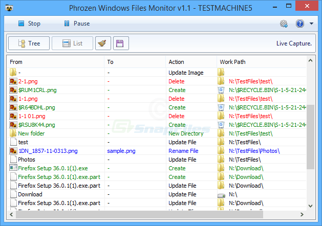 screenshot of Phrozen Windows File Monitor
