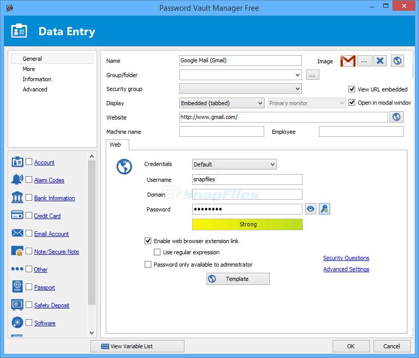 screenshot of Password Vault Manager