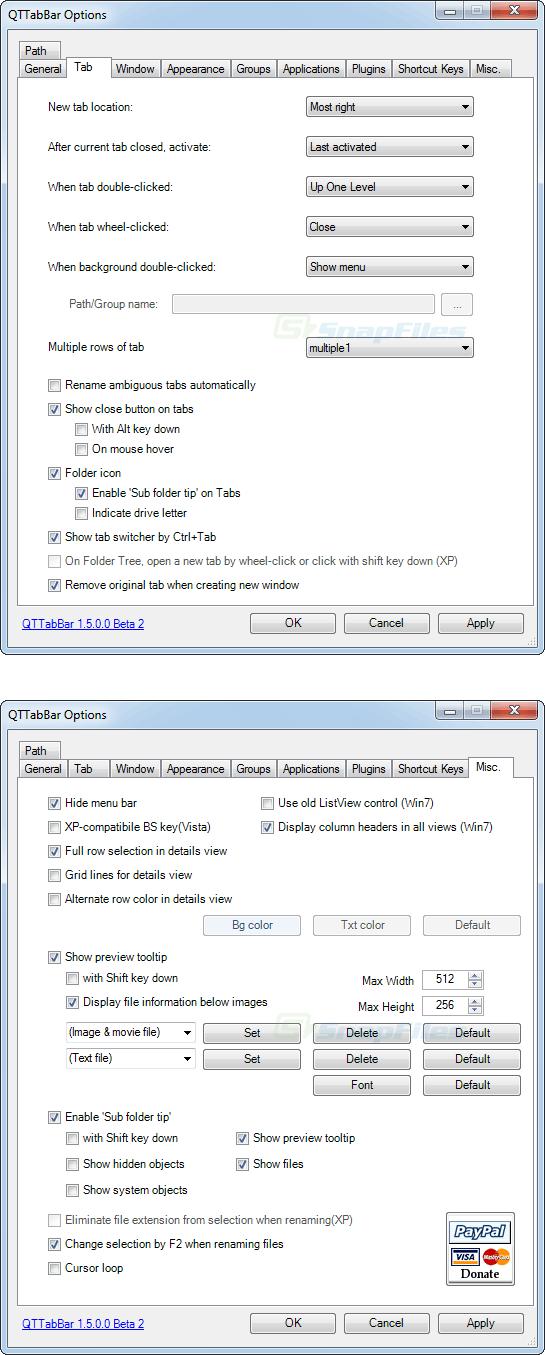 screenshot of QTTabBar