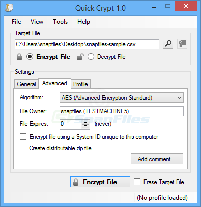 screenshot of Quick Crypt