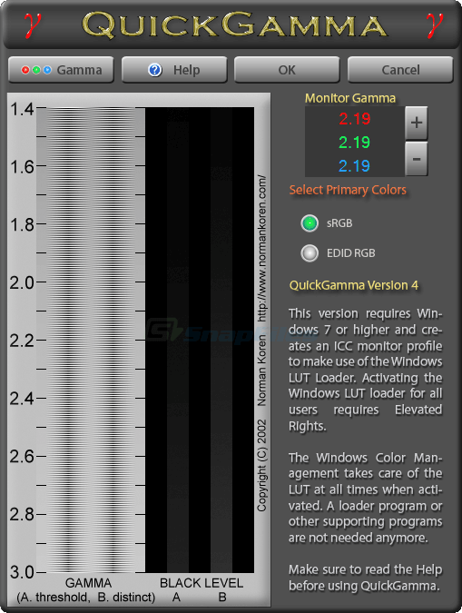 screen capture of QuickGamma