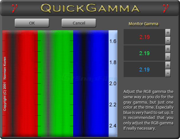 screenshot of QuickGamma