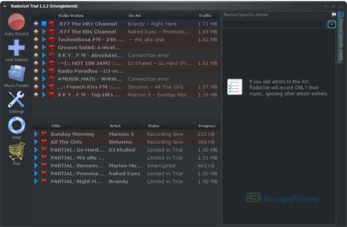 screenshot of RadioGet