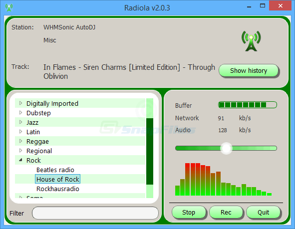screen capture of Radiola