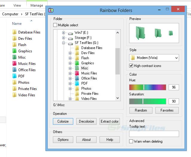 screen capture of Rainbow Folders