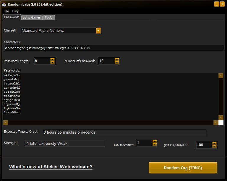 screen capture of Random Labs