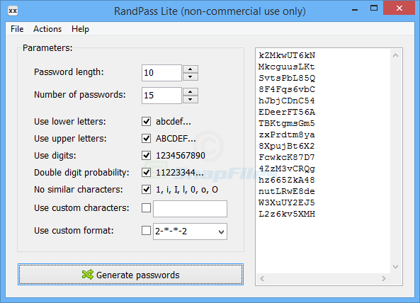 screen capture of RandPass