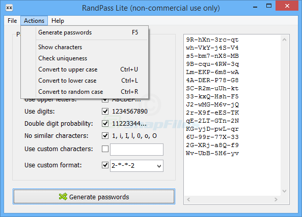 screenshot of RandPass