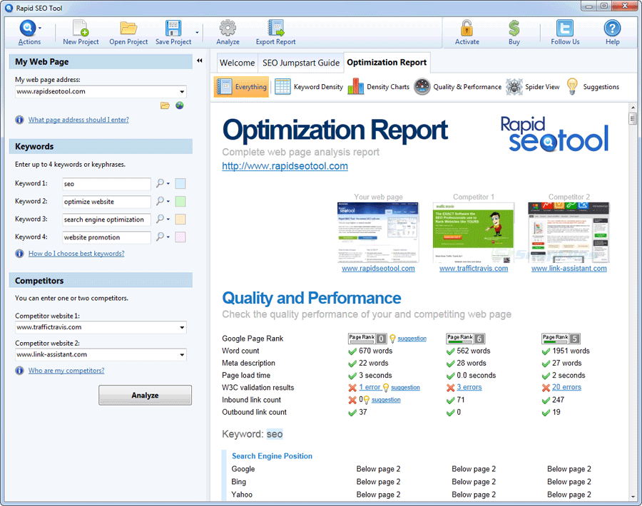 screen capture of Rapid SEO Tool