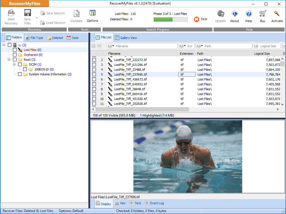 screen capture of Recover My Files