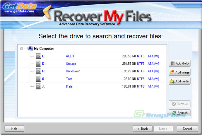 screenshot of Recover My Files