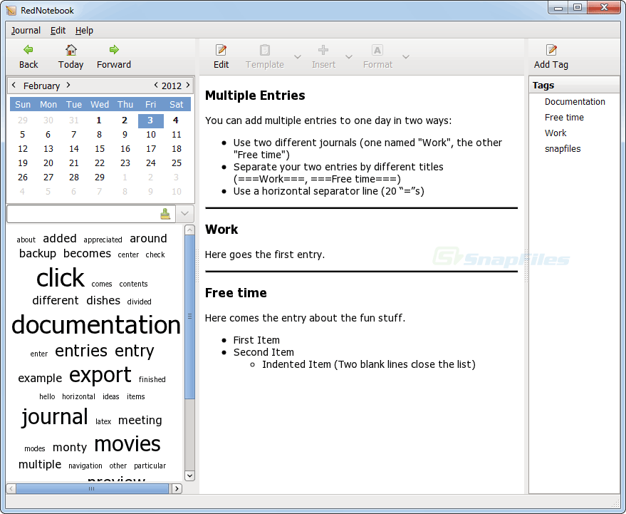 screenshot of RedNotebook