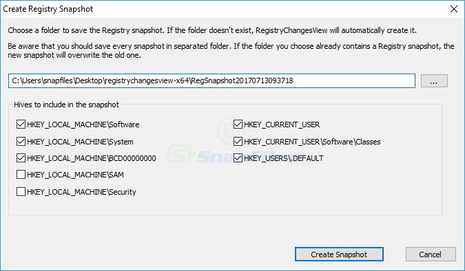 screenshot of RegistryChangesView