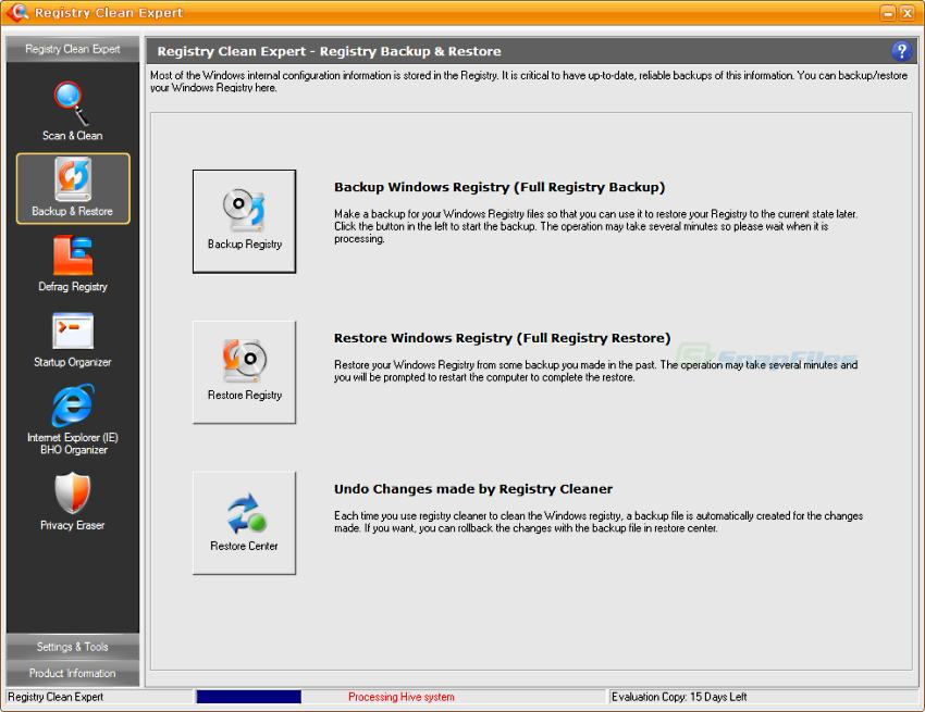 screenshot of Registry Clean Expert