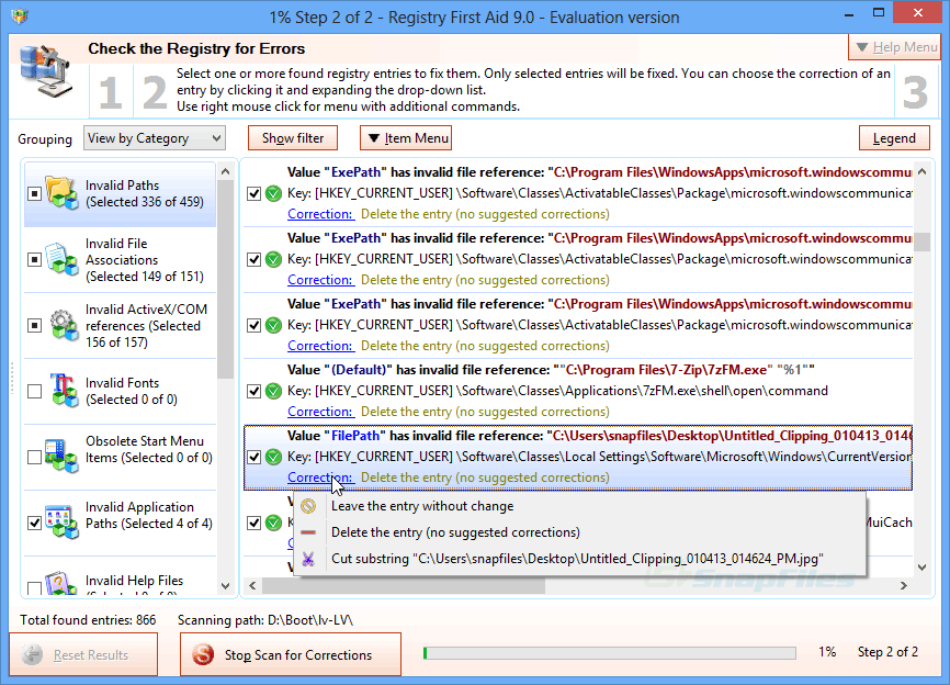 screen capture of Registry First Aid