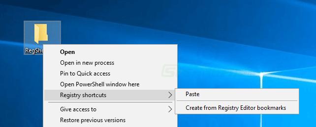 screen capture of Registry Shortcuts