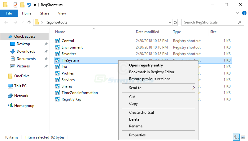 screenshot of Registry Shortcuts