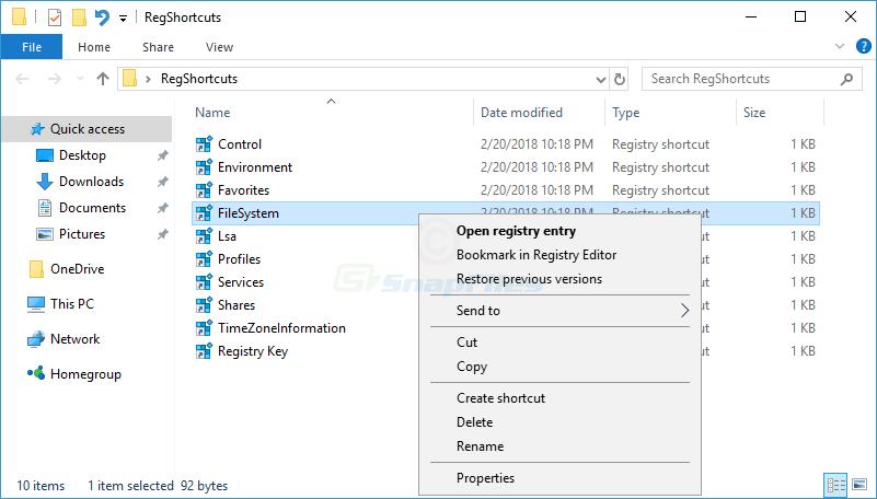 screenshot of Registry Shortcuts