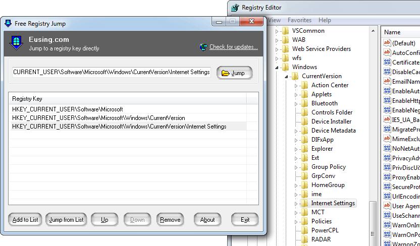 screenshot of Free Registry Jump
