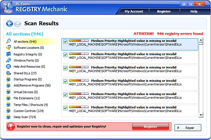 screen capture of Registry Mechanic