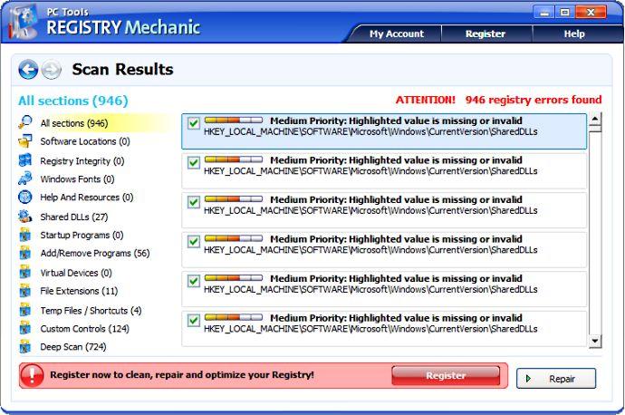 screen capture of Registry Mechanic