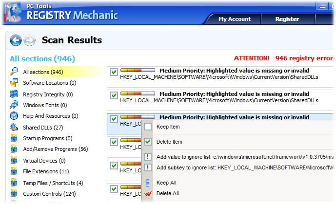 screenshot of Registry Mechanic