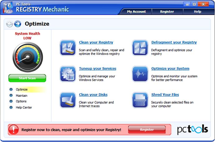 screenshot of Registry Mechanic
