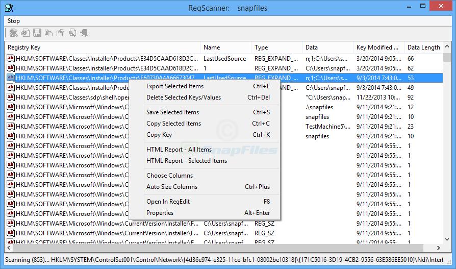 screen capture of RegScanner