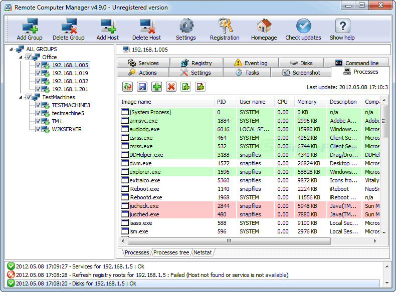 screen capture of Remote Computer Manager