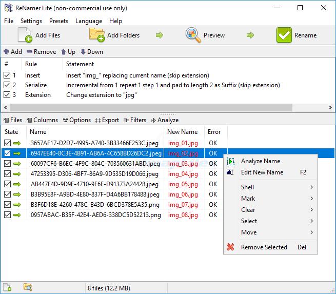 ReNamer Lite - flexible file and folder renamer