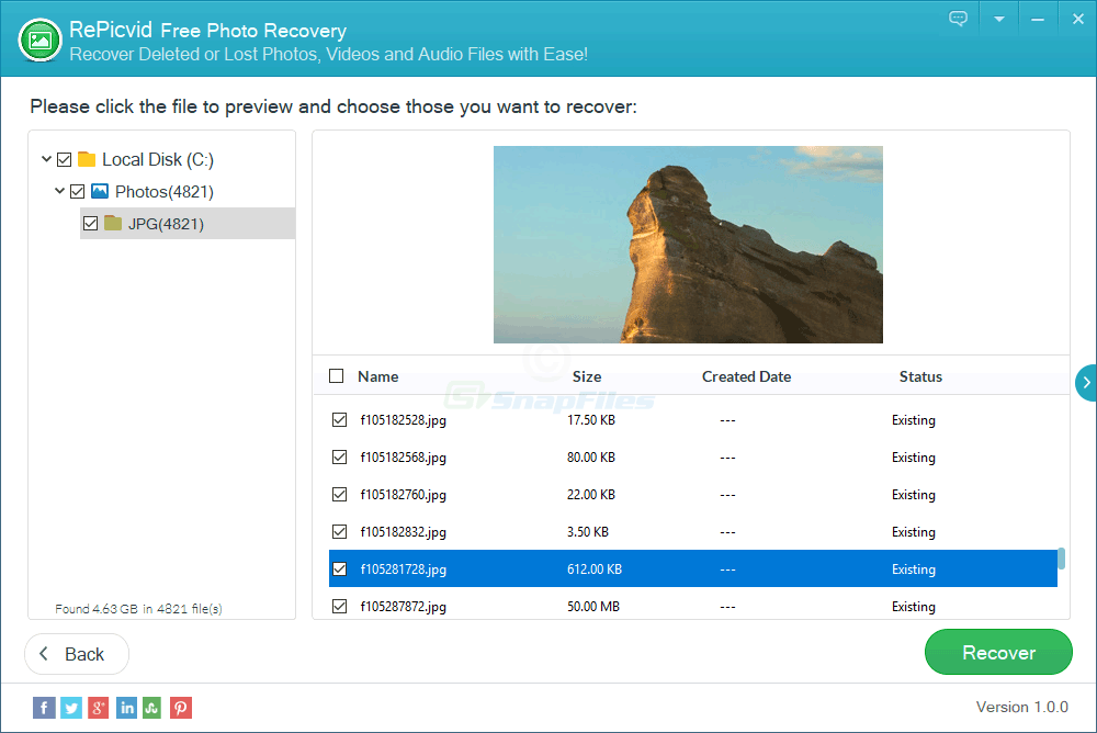 screenshot of RePicvid Photo Recovery