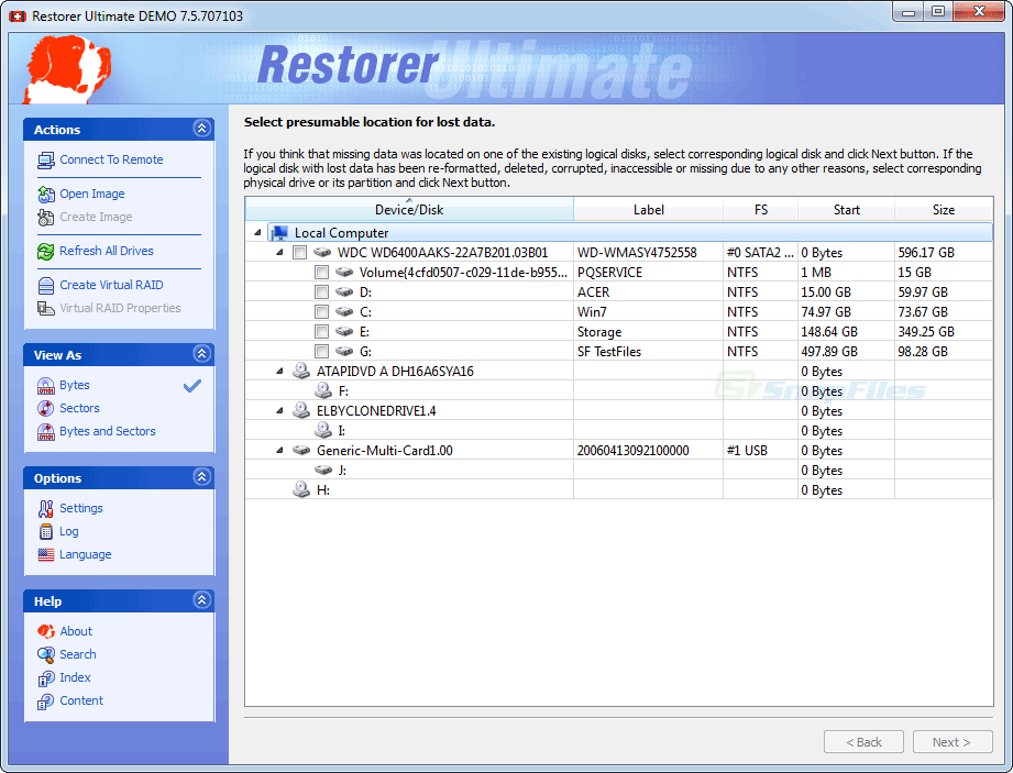 screen capture of Restorer Ultimate