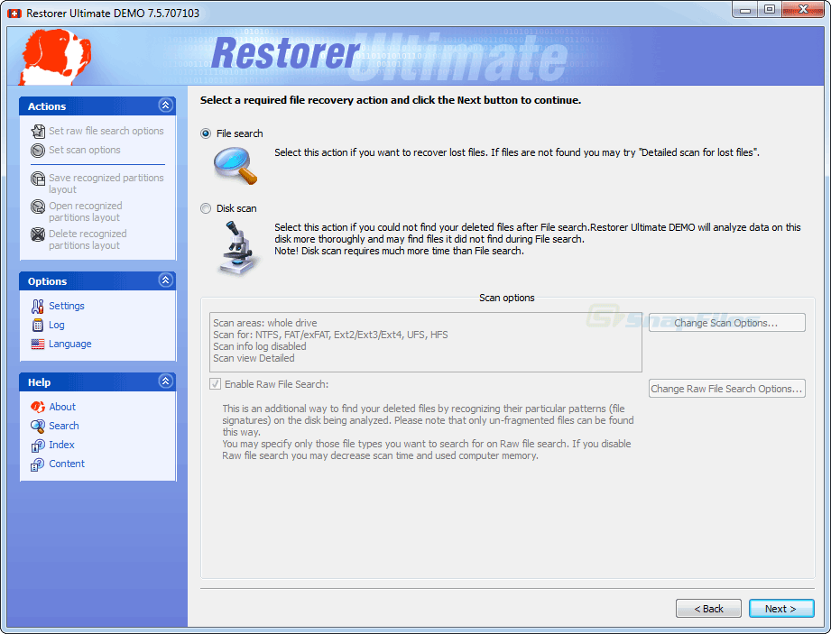screenshot of Restorer Ultimate