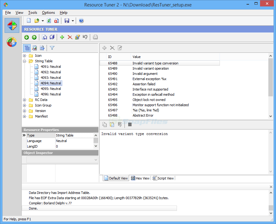 screen capture of Resource Tuner