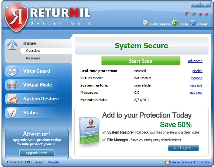 screen capture of Returnil System Safe 2011