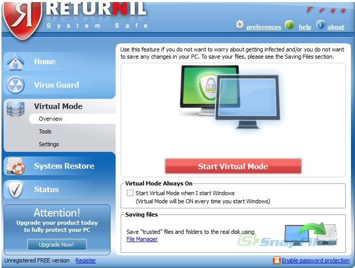 screenshot of Returnil System Safe 2011