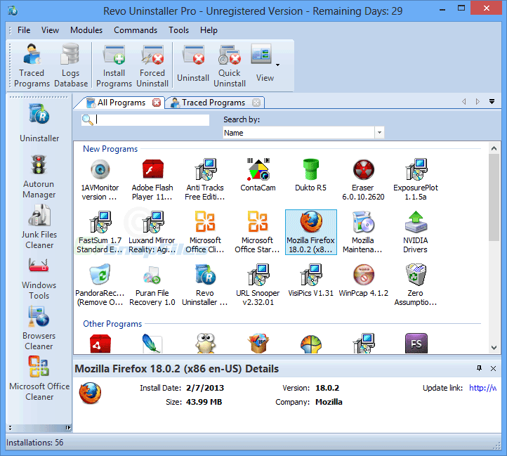 screen capture of Revo Uninstaller Pro