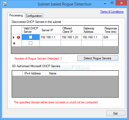 screen capture of Rogue DHCP Server Detection