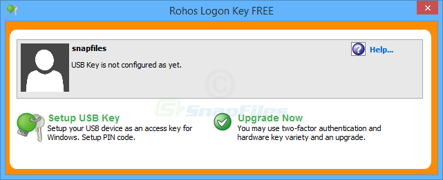 screen capture of Rohos Logon Key Free
