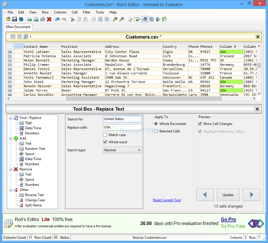 screenshot of Ron`s Editor