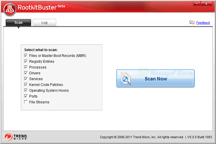 screen capture of Rootkit Buster