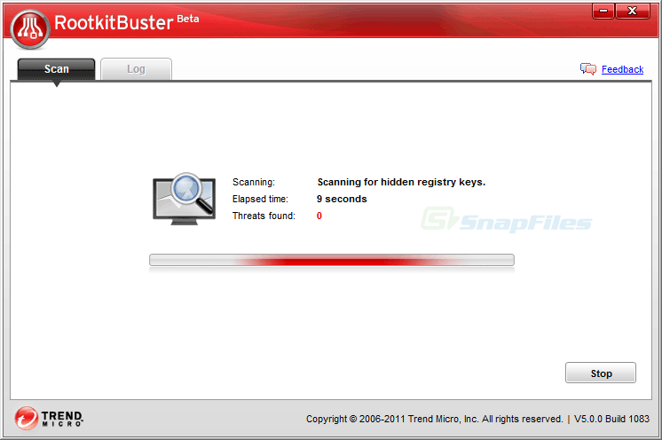 screenshot of Rootkit Buster