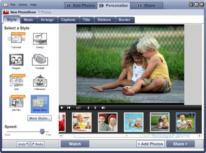 screen capture of Roxio PhotoShow