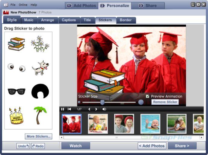 screenshot of Roxio PhotoShow
