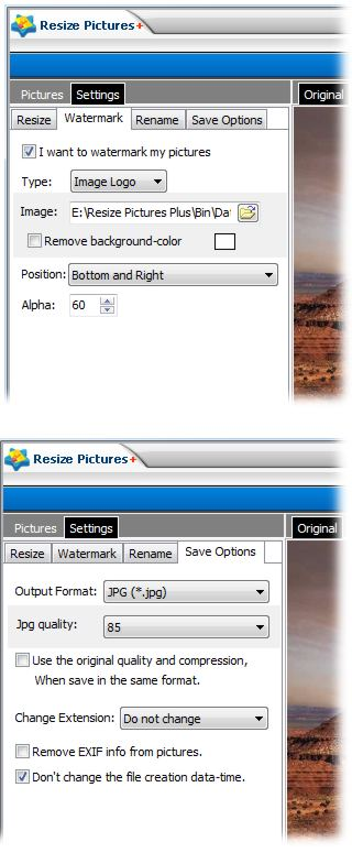 screenshot of Resize Pictures Plus