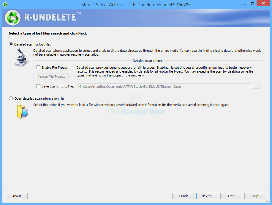 screenshot of R-Undelete Home