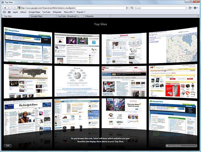 screen capture of Apple Safari