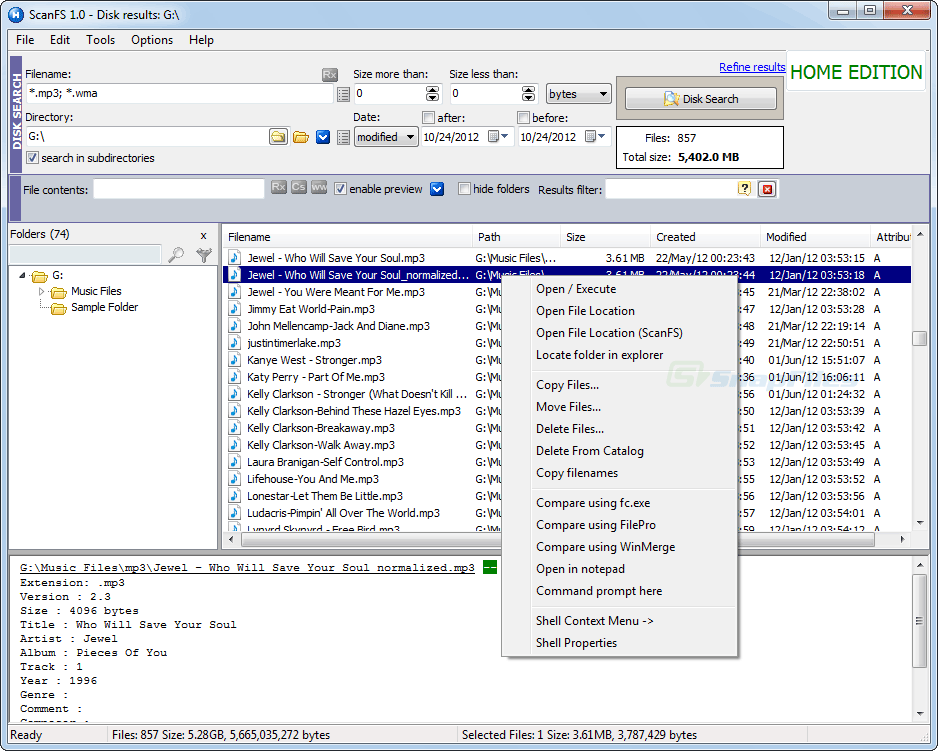 screenshot of ScanFS
