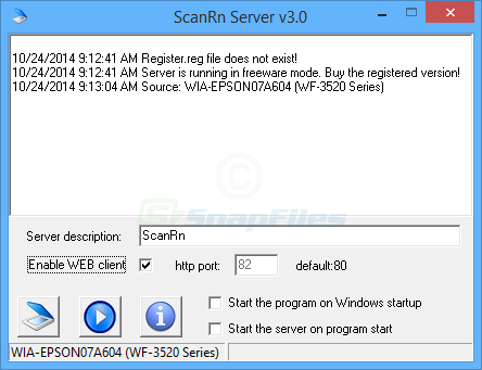 screenshot of ScanRnServer