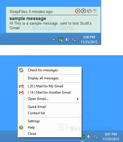 screen capture of Scott`s Gmail Alert